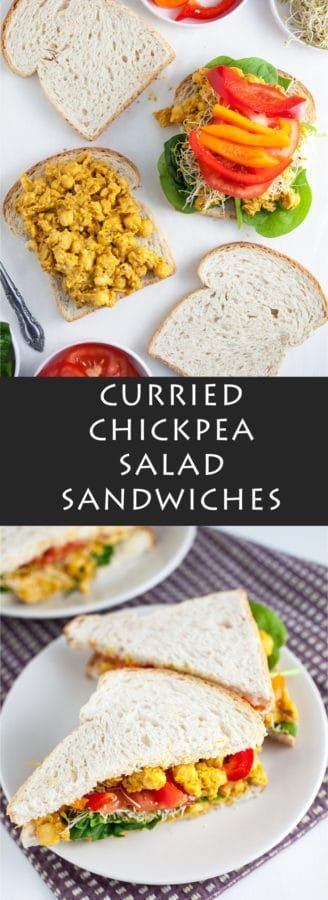 These Curried Chickpea Salad Sandwiches make for a perfect lunch recipe! They're healthy, vegetarian and vegan, and easy to prepare. The curry gives them a little spice and the fresh veggies give them a nice earthy balance. These curried chickpeas means no more boring sandwiches for lunch! #vegetarian #vegan