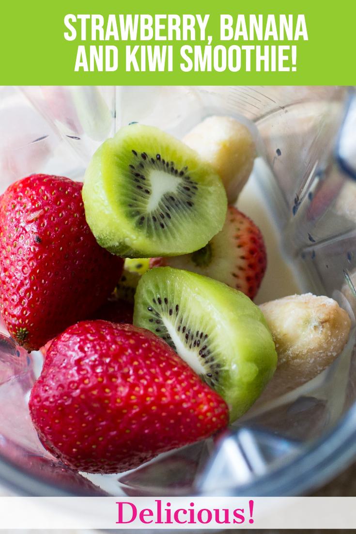 Strawberry, Banana, and Kiwi Smoothie