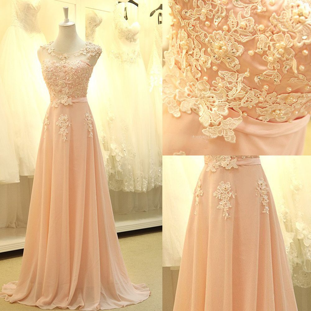 Customs made bridesmaid dresses appliques lace chiffon bridesmaid