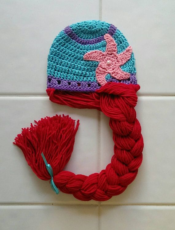 Little Mermaid hat, crochet beanie, photo prop dress up | Gorros ...