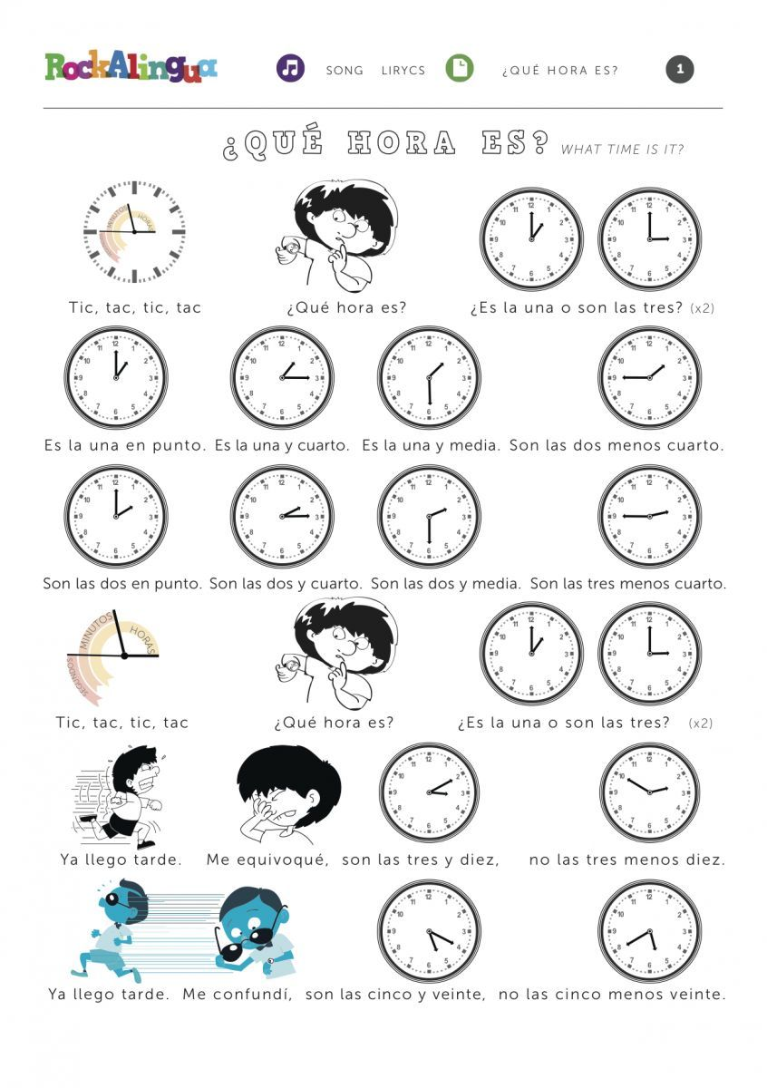 A Song To Help Learn Time Spanish Worksheets Time In Spanish Telling Time Worksheets