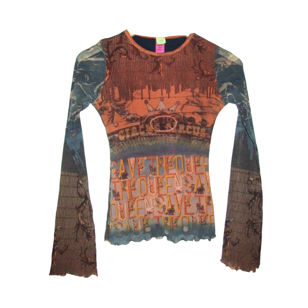 90/'s Colorful Patchwork Pullover Top by Save the Queen Sz S