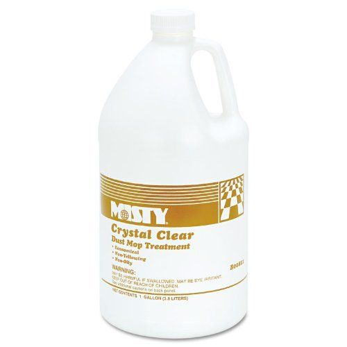 """Misty® B00811-4X1 - DUST MOP TREATMENT, ATTRACTS DIRT, NON-OILY, GRAPEFRUIT SCENT, 1 GAL, 4/CARTON by Misty®. $115.49. Crystal clear dust mop treatment is a dressing for dust mop heads to aid in the removal of dust, dirt, and other abrasive matter from floor surfaces. Mop heads treated with this compound act as a """"dust magnet"""" to attract and hold particles until mop is cleaned or laundered. Treatment is non-oily and leaves a dry, protective, plasticized film on the surf..."""