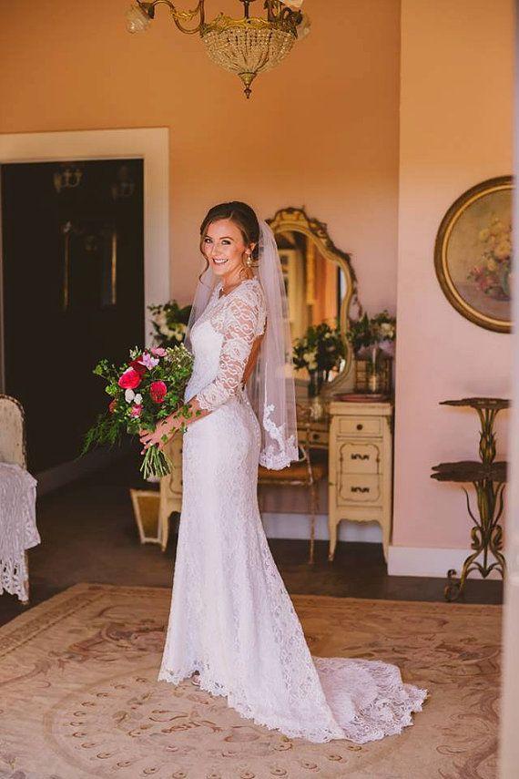 Keyhole Back Wedding Dress, Wedding Dress with Sleeves, Lace Wedding ...