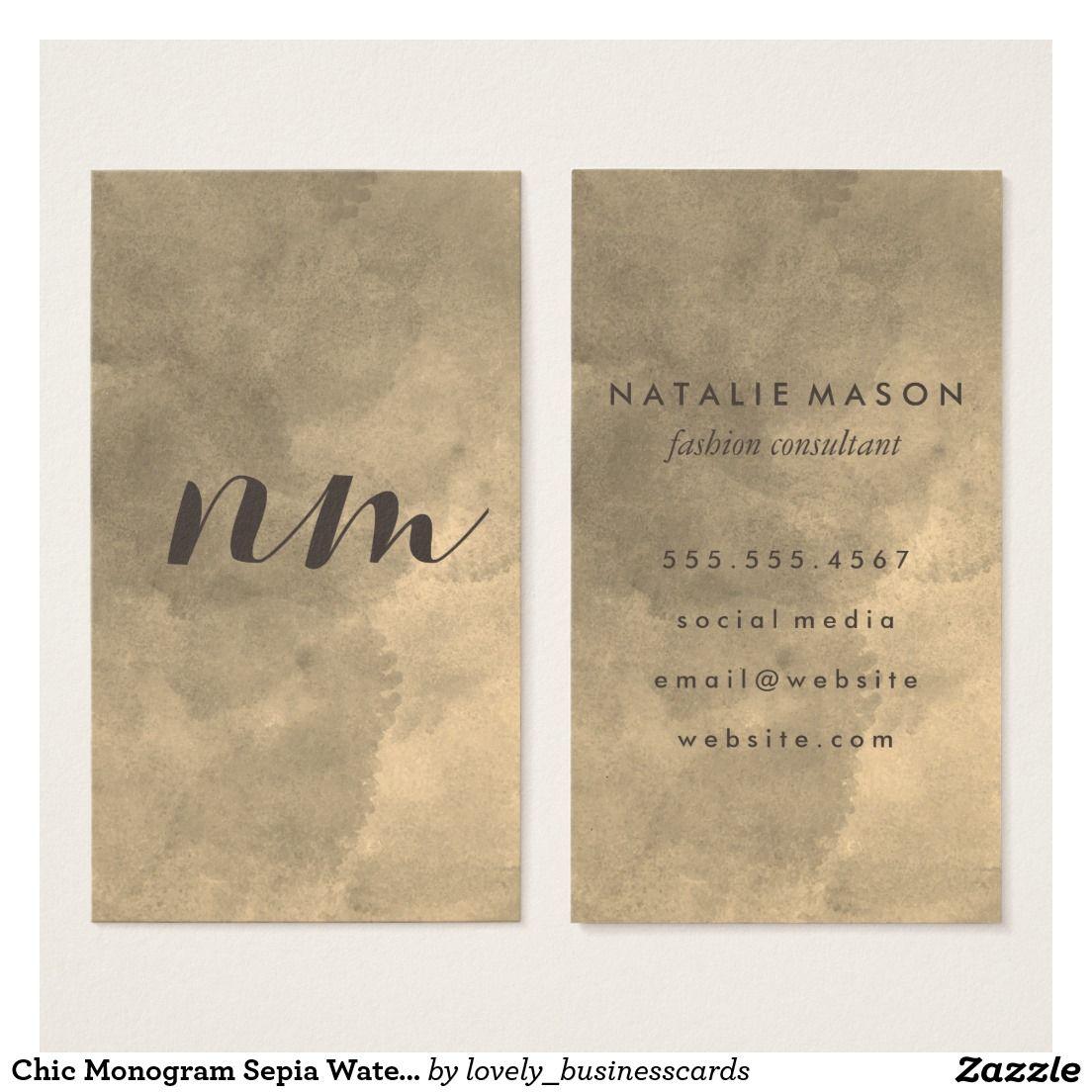 Chic Monogram Sepia Watercolor Business Card #monogram ...