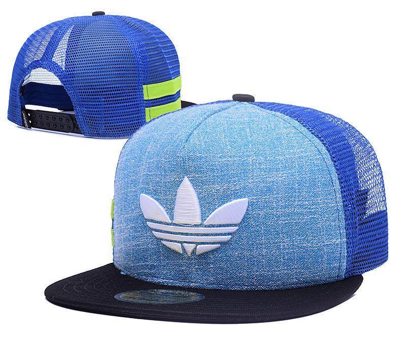 Men's Adidas Original 3D Logo Embroidery Trucker Snapback Hat - Light Blue / Royal