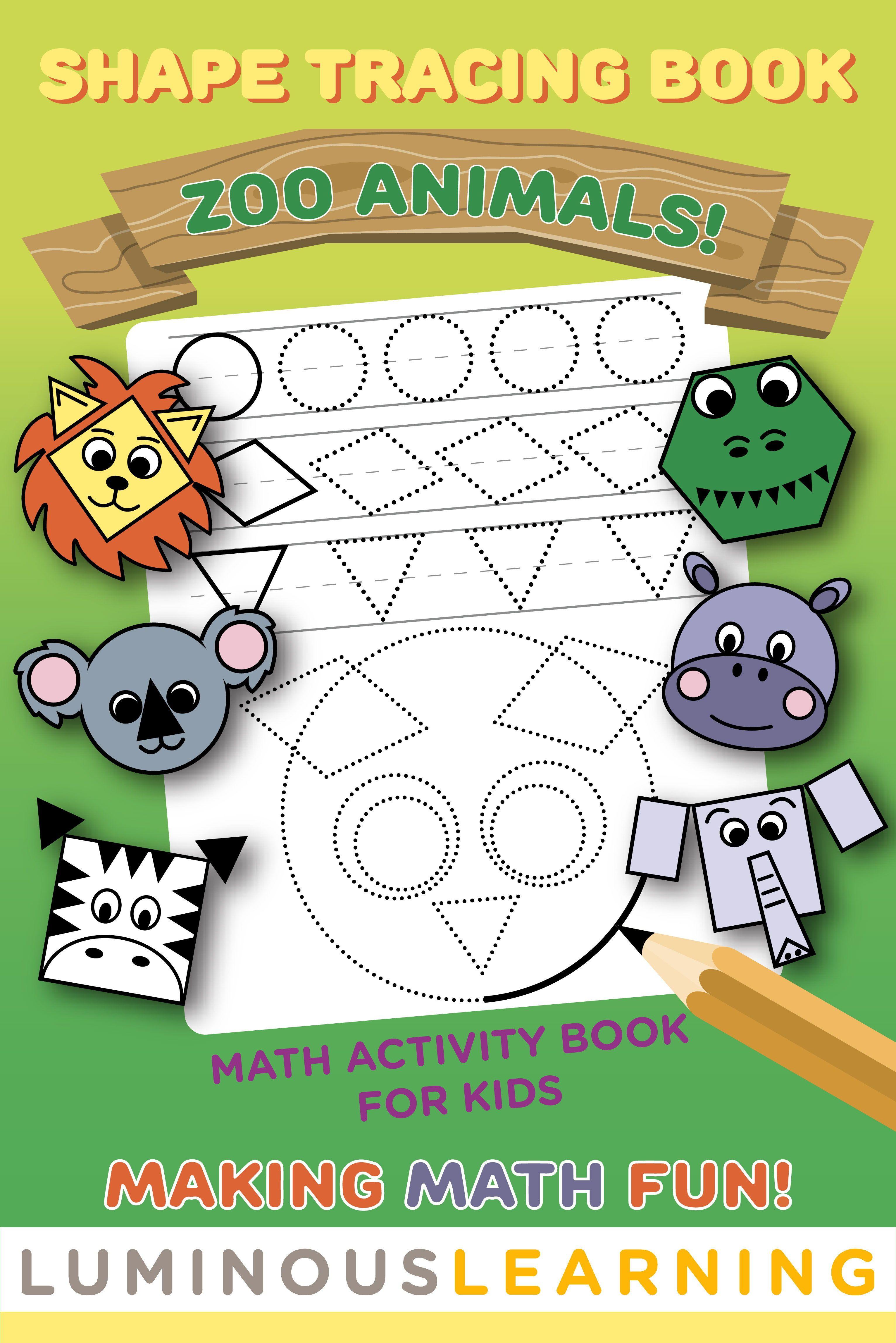 Shape Tracing Book Zoo Animals Jumbo Math Activity Book