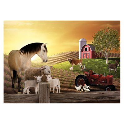 JP London MDXL3042PS Farm Barnyard Animals Peel and Stick Removable ...