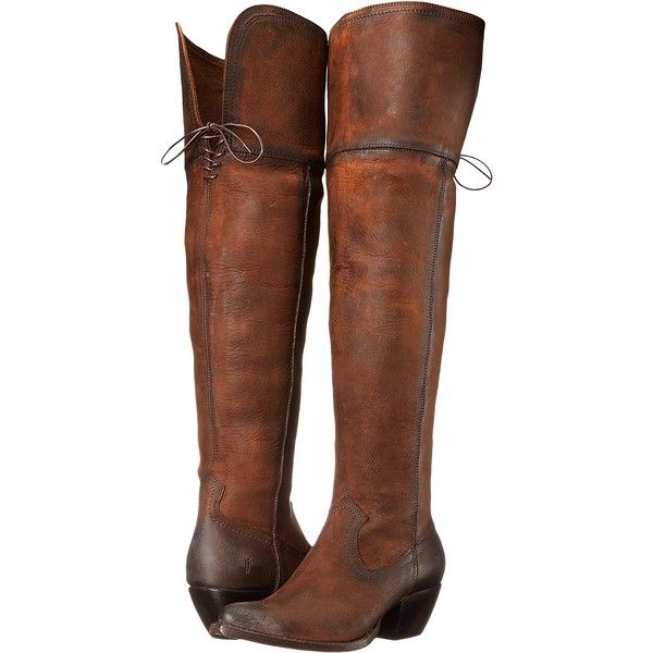 Frye Sacha OTK (Dark Brown Soft Antique Pull Up) Cowboy Boots (€210) ❤ liked on Polyvore featuring shoes, boots, brown, lace-up boots, heeled cowboy boots, dark brown boots, laced up boots and brown boots
