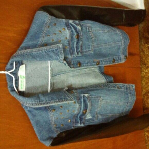 Jean jacket Jean jacket with pleather sleeves Jackets & Coats Jean Jackets