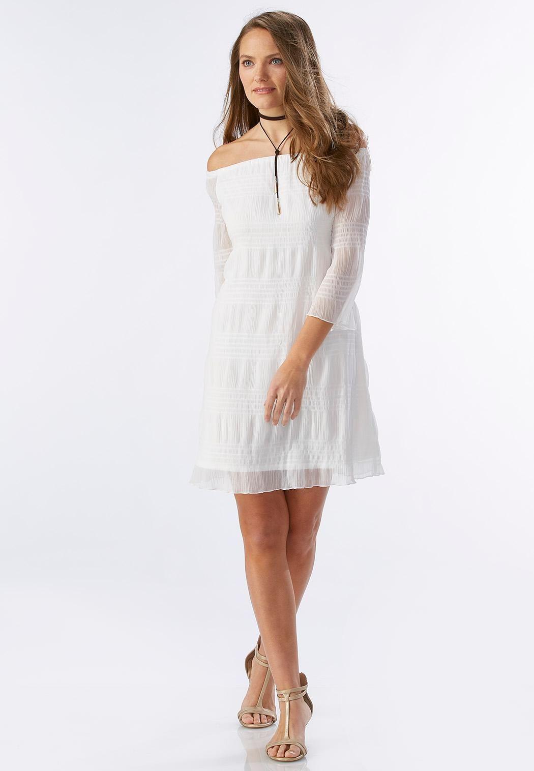 Striped Off The Shoulder Shift Dress Plus Plus Sizes Cato Fashions