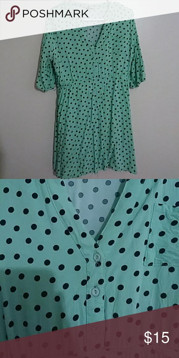 57aace533fc Rue21 mint green dress Pre owned from rue 21 mint green 3 4 sleeve polka  dot mini dress size large Rue21 Dresses