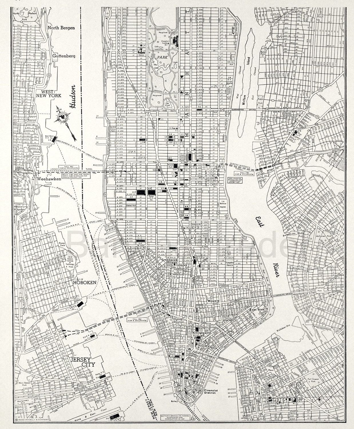 New York Map Black And White.Vintage Map Of Manhattan New York City Lower Manhattan 1942