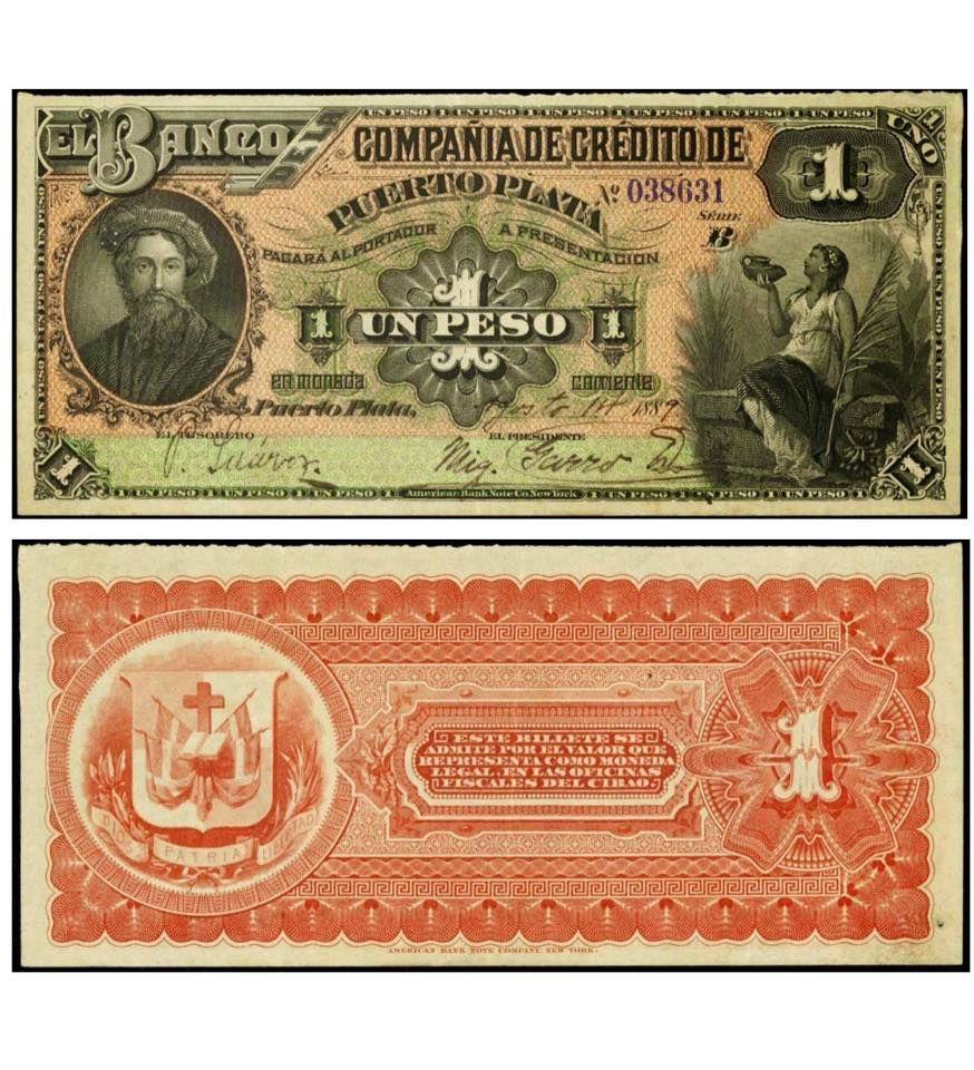 Banco De Credito De Puerto Plata 1889 Papeleta De Un Peso Banco De Credito De Puerto Plata Republica Dominicana 1 Bank Notes Vintage World Maps Numismatics