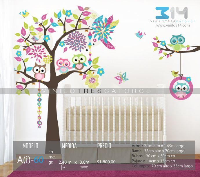 Vinilo 3 14 vinilo decorativo infantil arbol buhos for Pegatinas pared arbol infantil