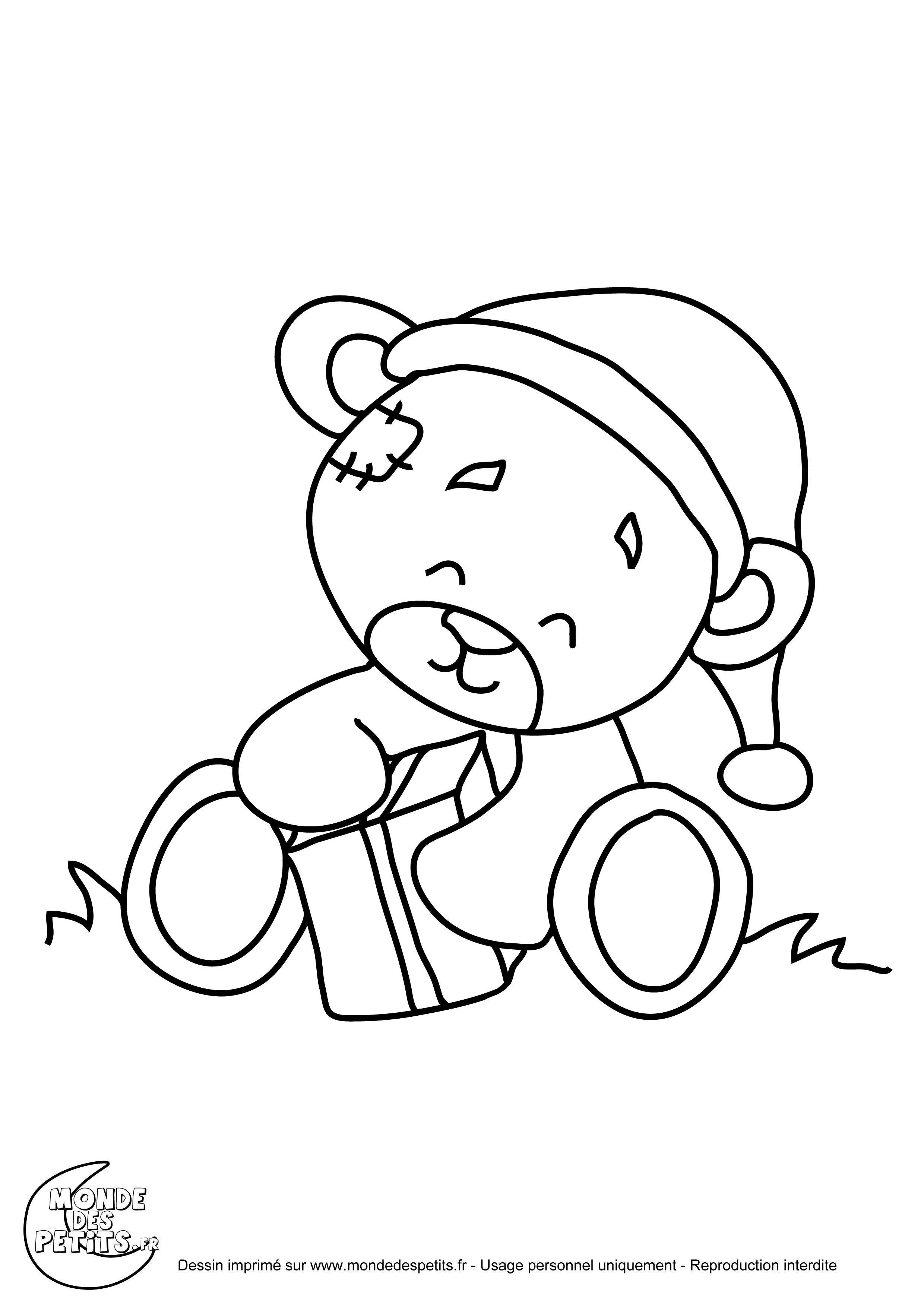 Coloriage Nounours De Noel Imprimer Et Obtenir Une Coloriage