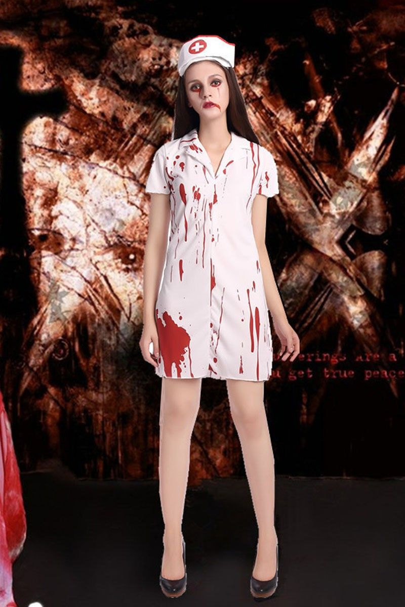 7255528cdd1d7 Nurse costumes role-play female Halloween Zombie costumes free shippping
