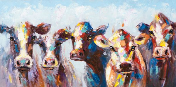 3364ec4c75702 Tableau ANIMAL POP-ART Vaches multicolores 140x70cm - Infos et Dimensions  Largeur   140 cm