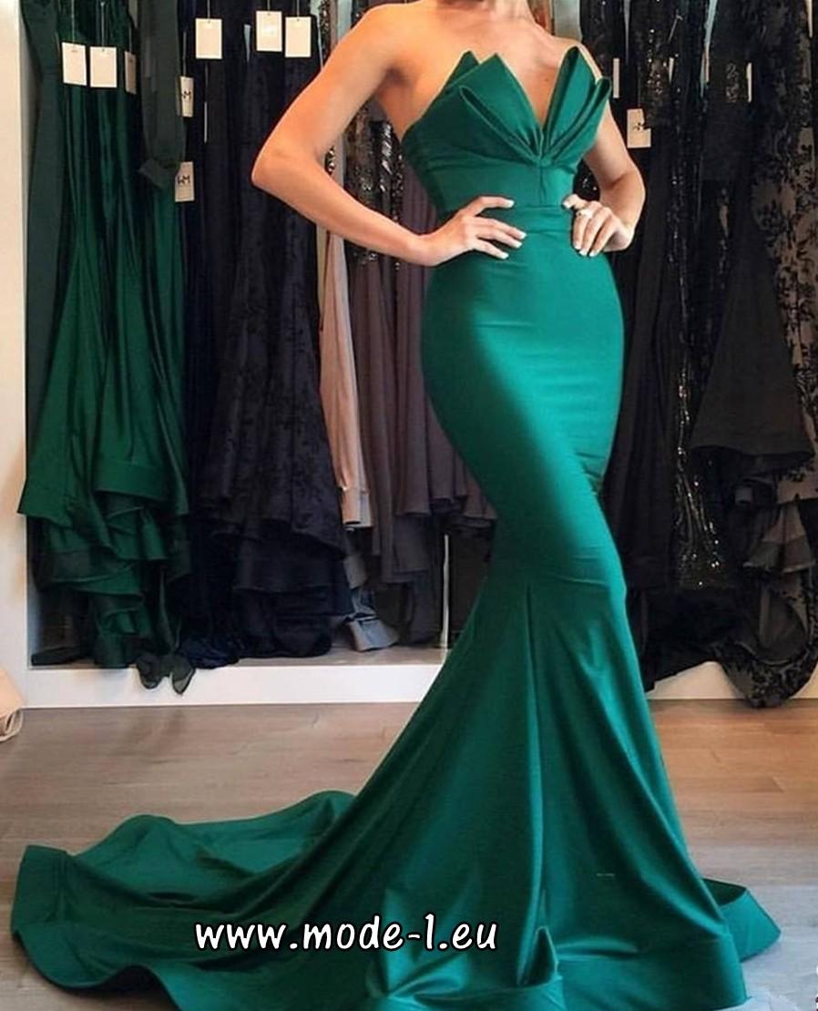 Trompeten Abendkleid in Grün mit Schleppe | Abendkleid ...