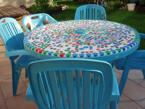 Beautiful Faire Une Table De Jardin Mosaique Pictures - Design ...