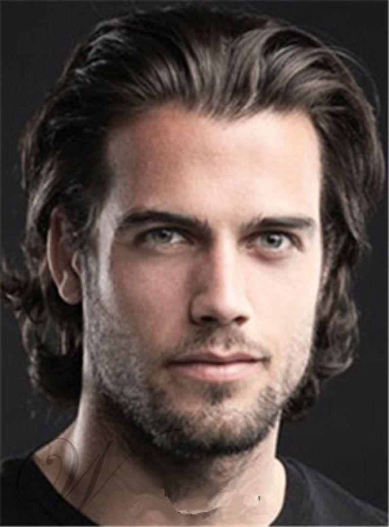 Trendy men haircuts fashion menus hairstyle short wavy dark brown wig  inches  menus