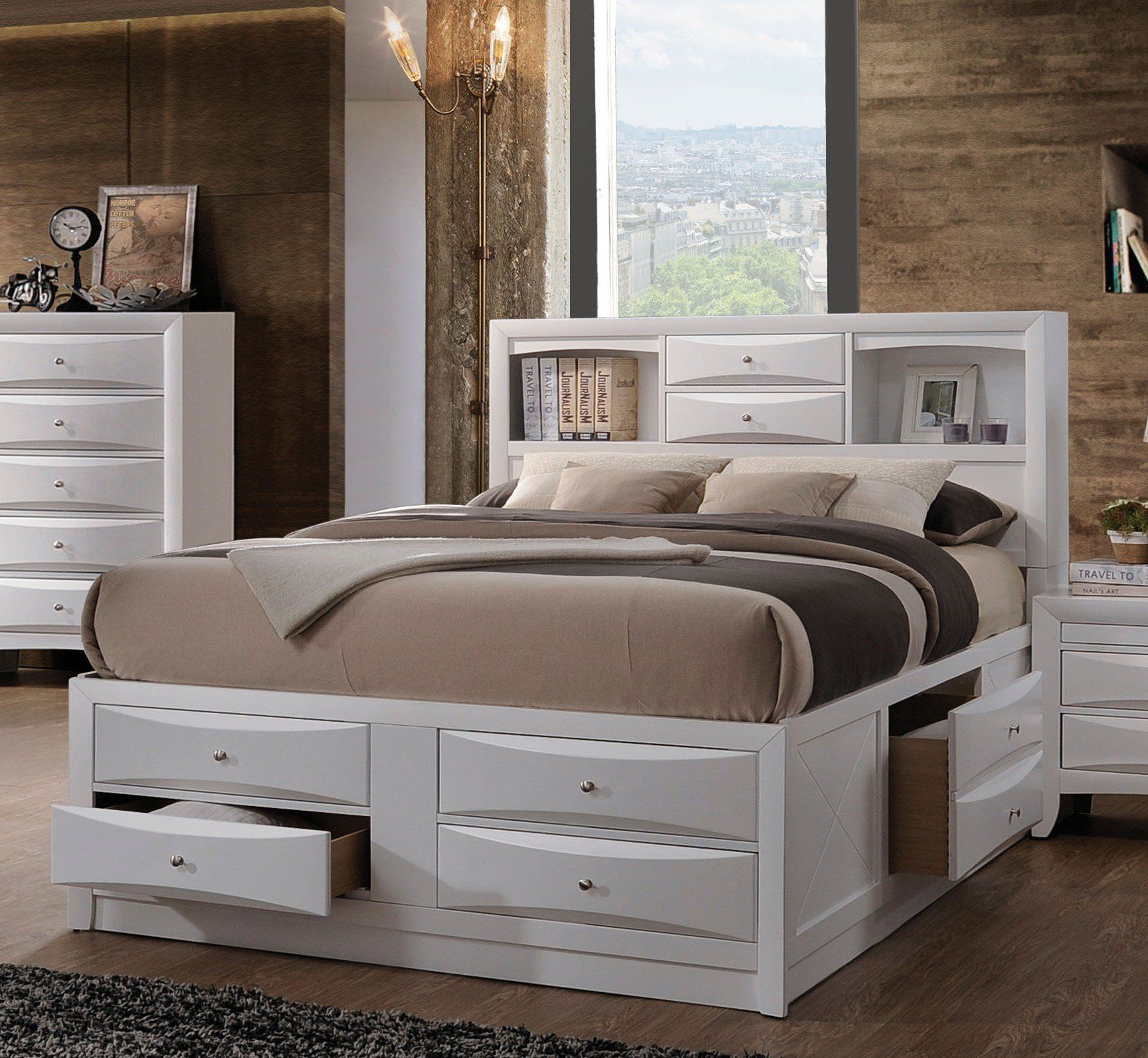 acme 21710f ireland white bookcase full storage bed with drawers