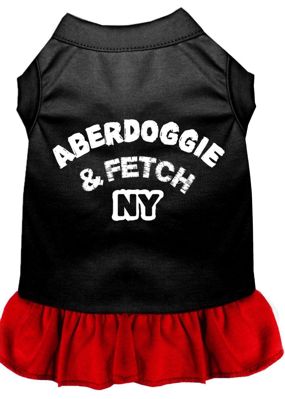 Aberdoggie ny screen print dress black with bright pink bright