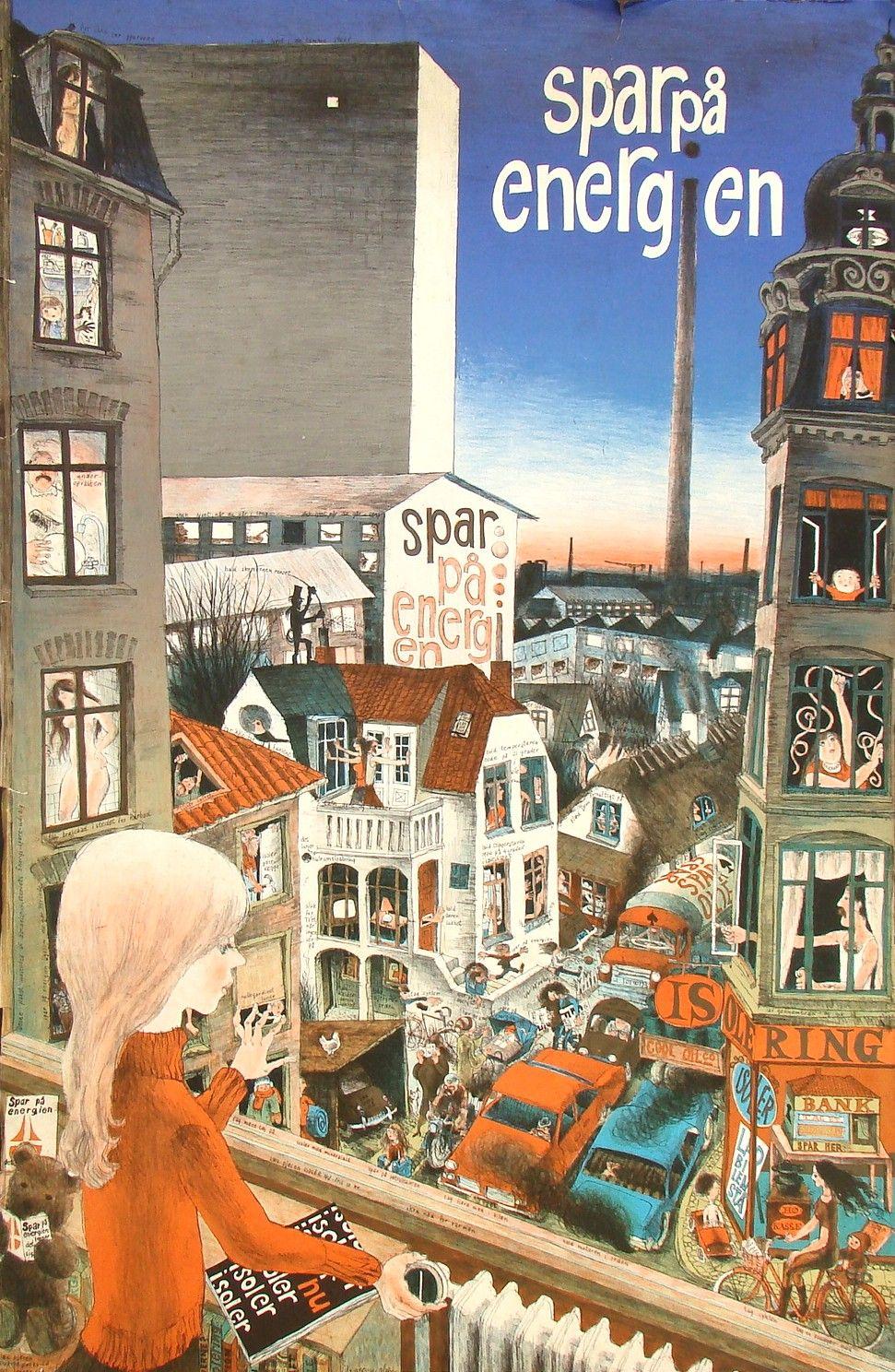 Spar Pa Energien Illustrerede Plakater Illustration Vintage Plakater