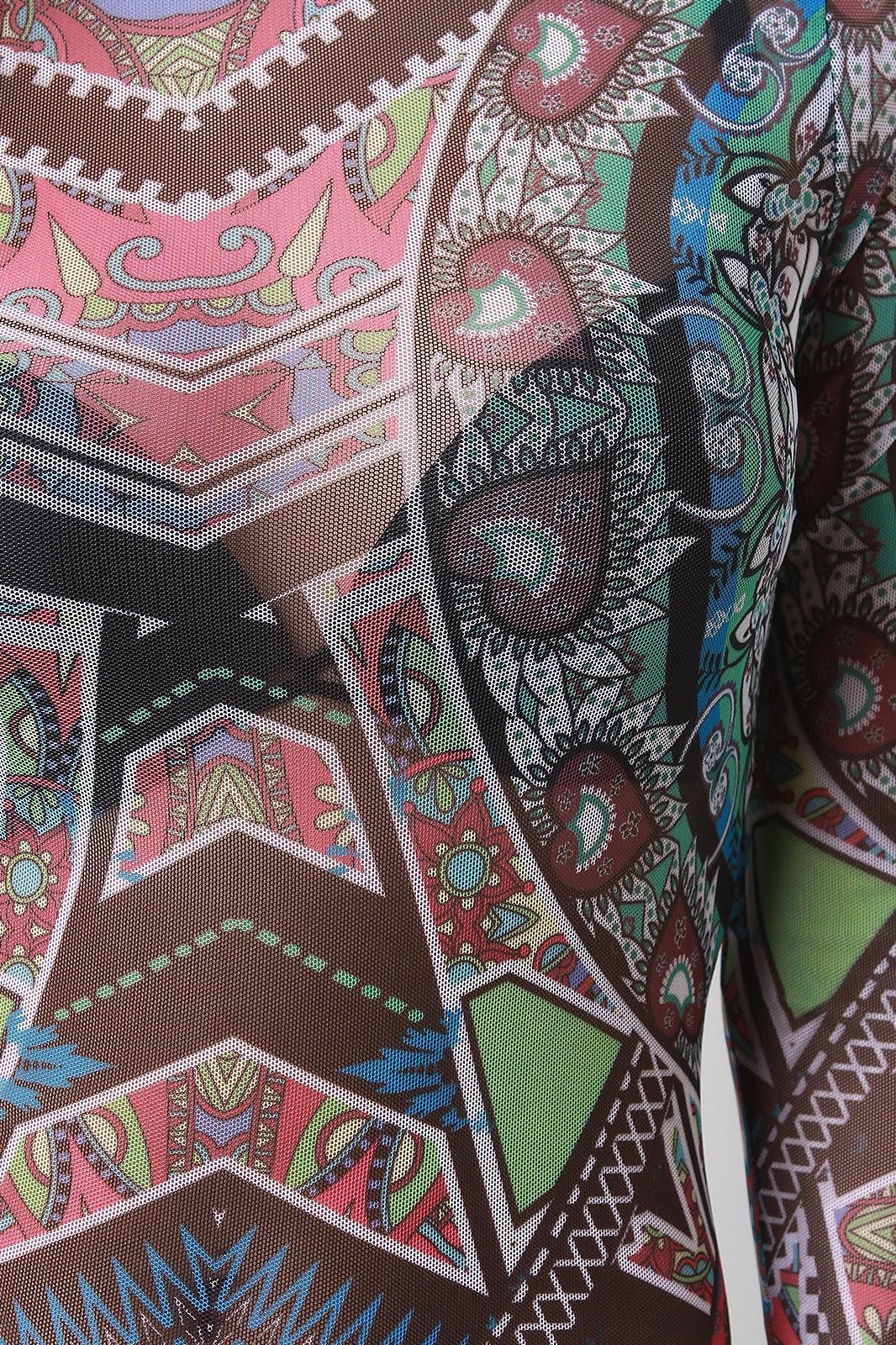 Abstract Boho Mesh Bodycon Dress