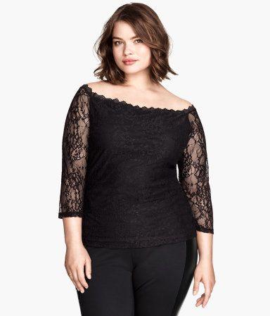 Plus Size Lace Top H&M+