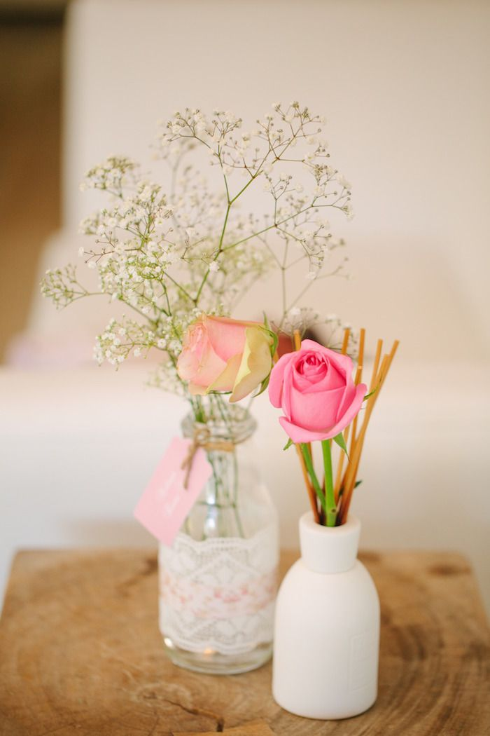 Floral Arrangement from a Vintage Chic 1st Birthday Party via Karas
