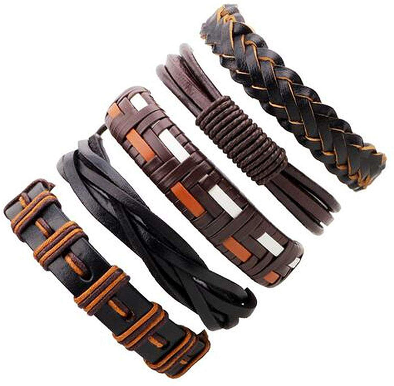 Photo of HOUBL Simple:Good 3-6 Pcs/Lot Tribal Genuine Wrap Male Pulsera Black Braided Leather Bracelets Bangles Color He did
