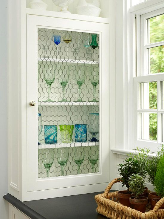 Stylish Ideas for Kitchen Cabinet Doors | Chicken wire, Chicken wire ...