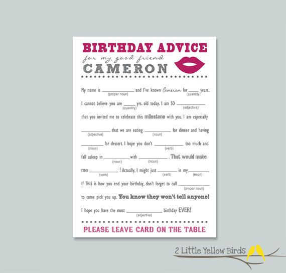 This is a picture of Juicy Happy Birthday Mad Libs Printable