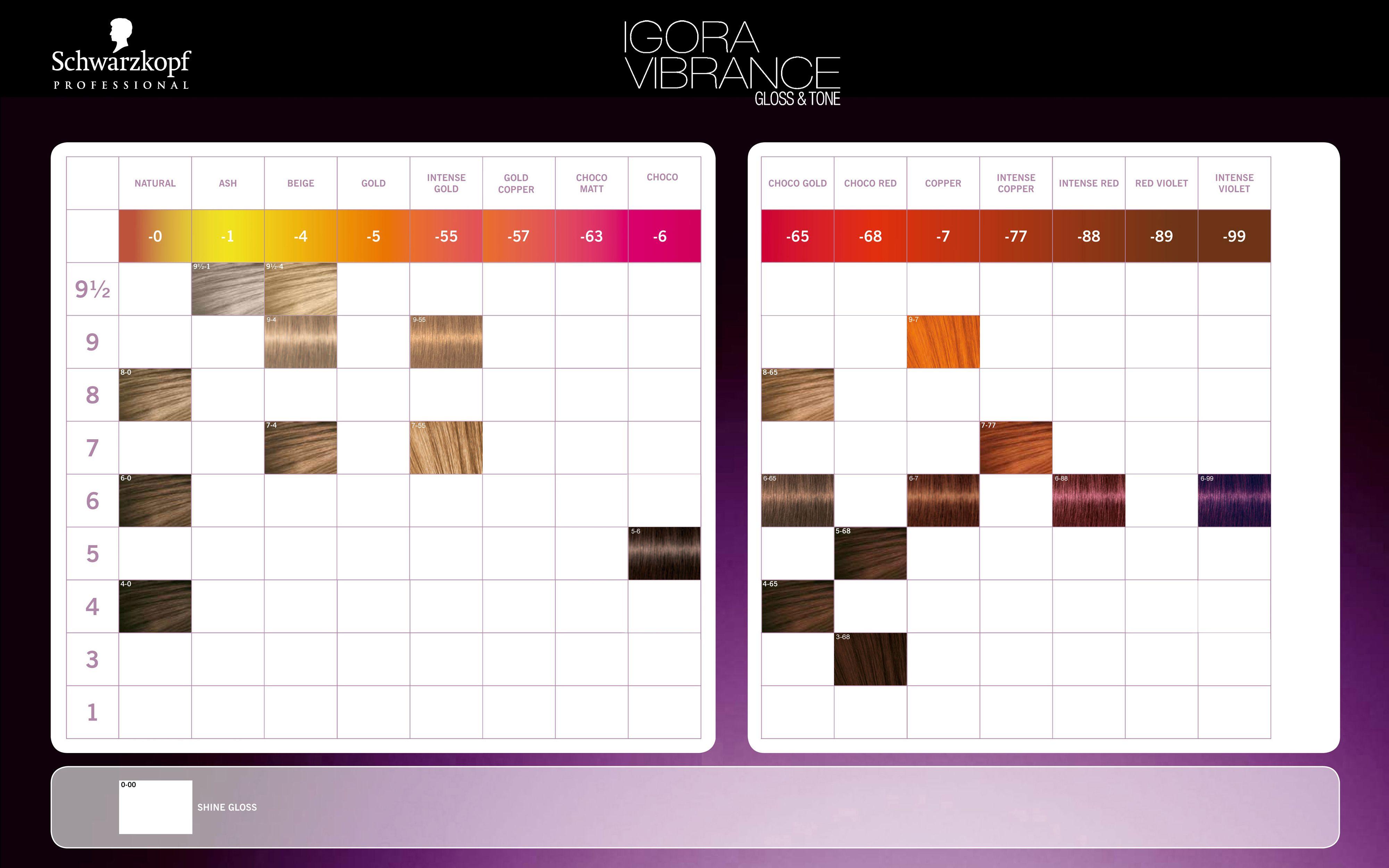 Schwarzkopf Professional Igora Vibrance Gloss Tone Color Chart 2014 Schwarzkopf Hair Color Hair Color Chart Schwarzkopf Hair