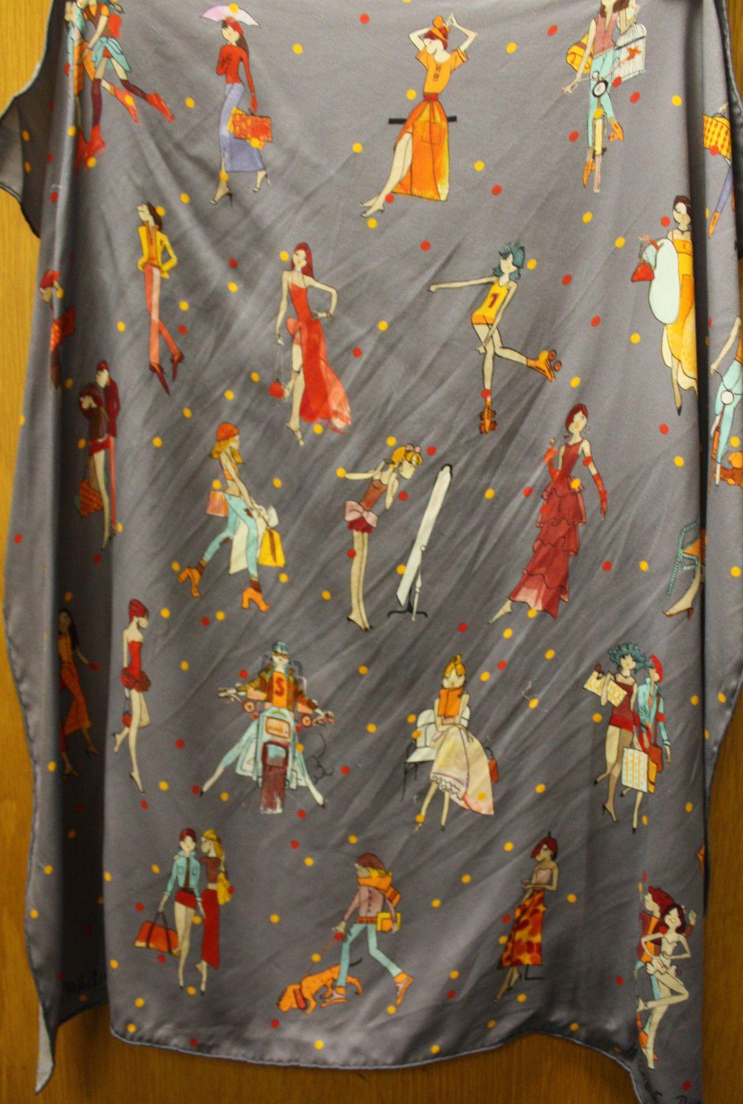 Hermes Silk Les Parisiennes De Kiraz Scarf in Grey | eBay ...