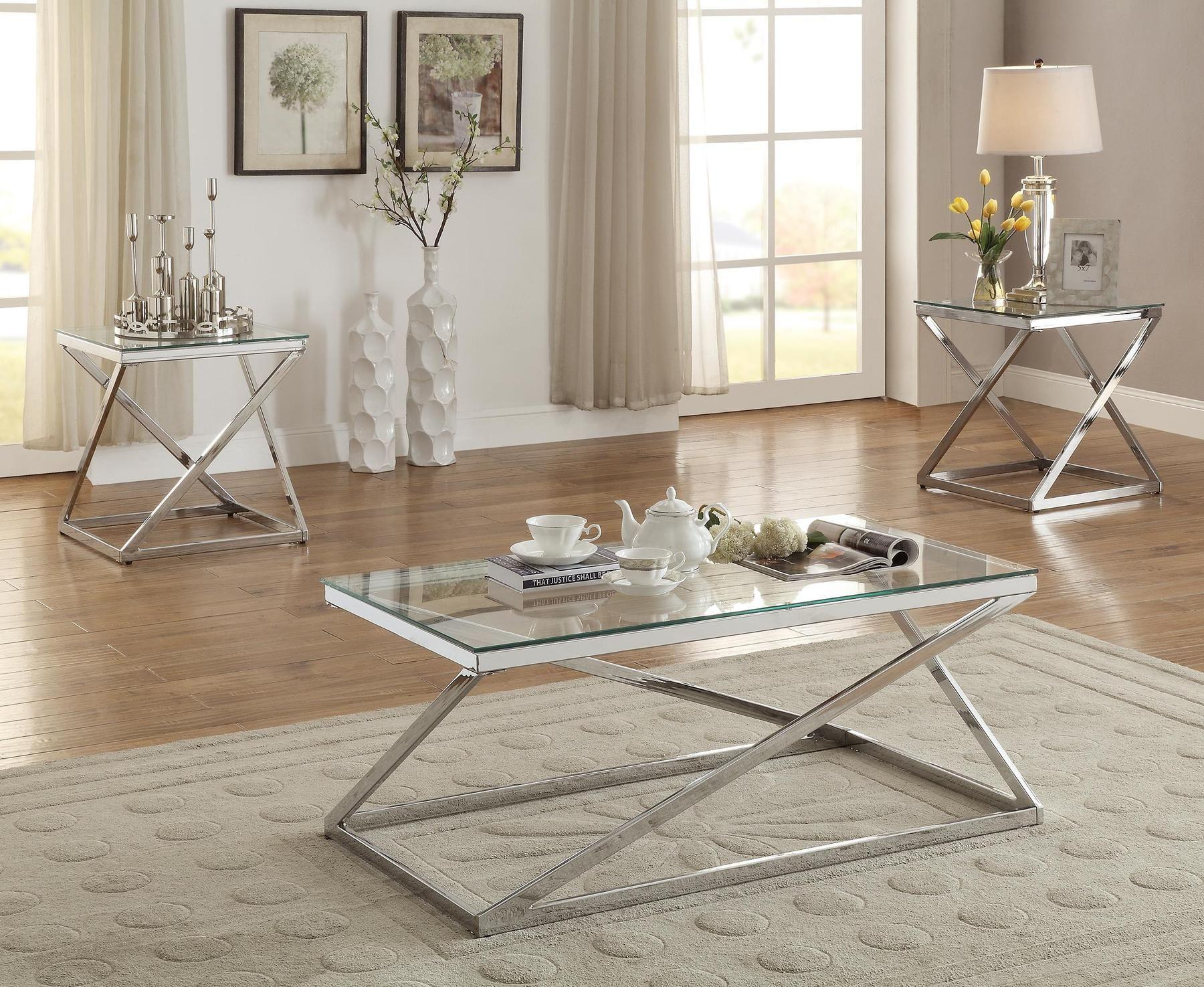 Best Poundex P3114 Z Shape Base Glass Top 3Pcs Coffee Table Set 400 x 300