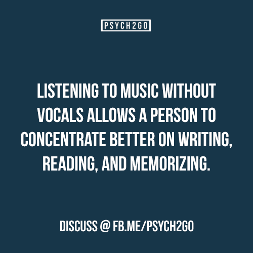 "psych2go: "" If you like these posts, be sure to check out psych2go (Source: Kiger, D. (1989). Effects of music information load on a reading comprehension task.Perceptual and Motor Skills, 69,..."