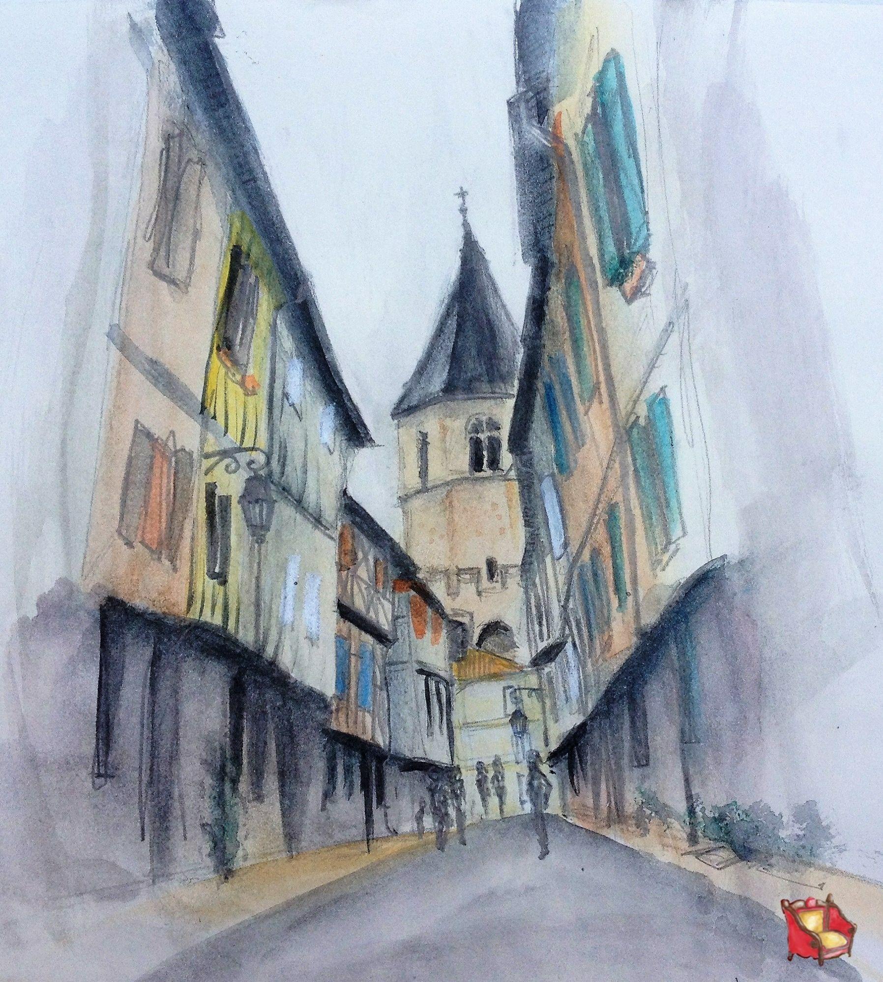 Aquarelle Watercolor Soreze Midi Pyrenees France Aquarelle
