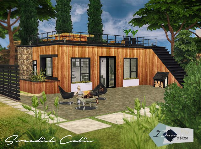 Inspired By The Modern Style Of Casa Cubica This Compact Dwelling Originally Built From A Shipping Container Sims House Sims House Design Sims 4 Modern House