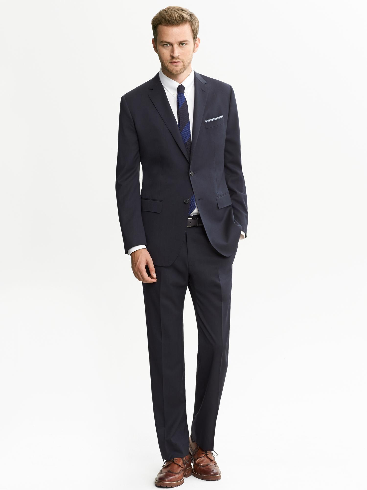 39619f0869 Men's Blue Br Monogram Dark Navy Wool Suit Jacket | Men's Business ...