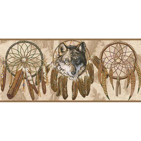 Wolf Dreamcatcher Tan Wallpaper Border BE10511B Native