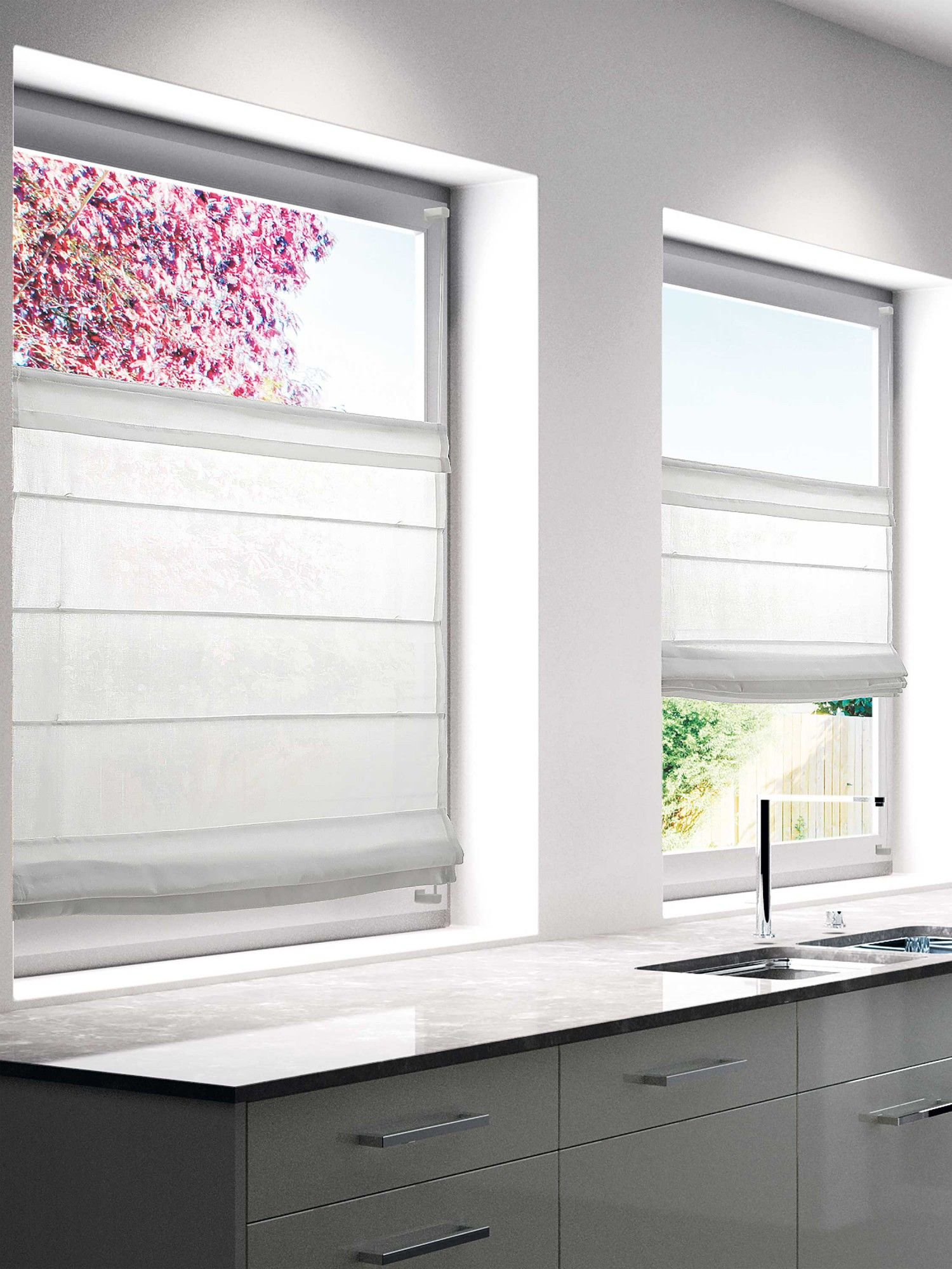 Faltrollo MOOD weiß 16x16cm (BH 16x16 cm)  Küchenfenster