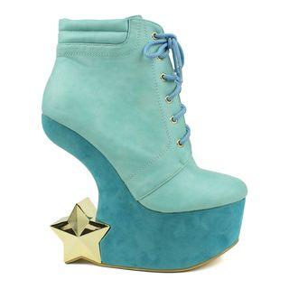 68fee7cc75 Fahrenheit Women's 'Felicia-05' Star Figure Heel-less Wedge Booties |  Overstock.com