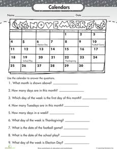 Reading A Calendar Worksheet Education Com Calendar Math Calendar Worksheets Teaching Calendar