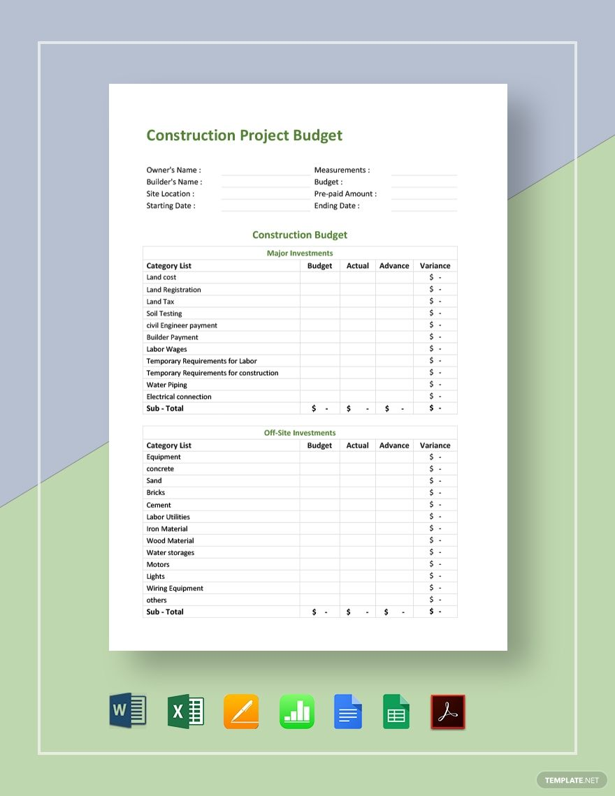Construction Project Budget Template Free Pdf Google Docs Google Sheets Excel Word Template Net Budget Template Budgeting Budget Template Free
