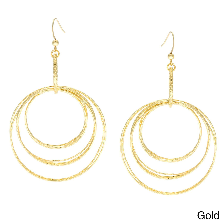 Alexa starr goldtone or hematite diamondcut fashion hoop earrings