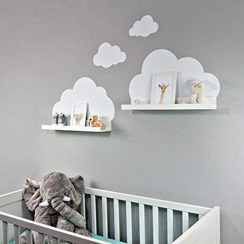 Wandtattoo Wolken in weiß für IKEA Regalbrett Ribba/Mosslanda 55 cm Bilderleiste für Babyzimmer Kinderzimmer – Aufkleber für Wand und Tapete - Dekoideen online finden #kinderzimmerdeko