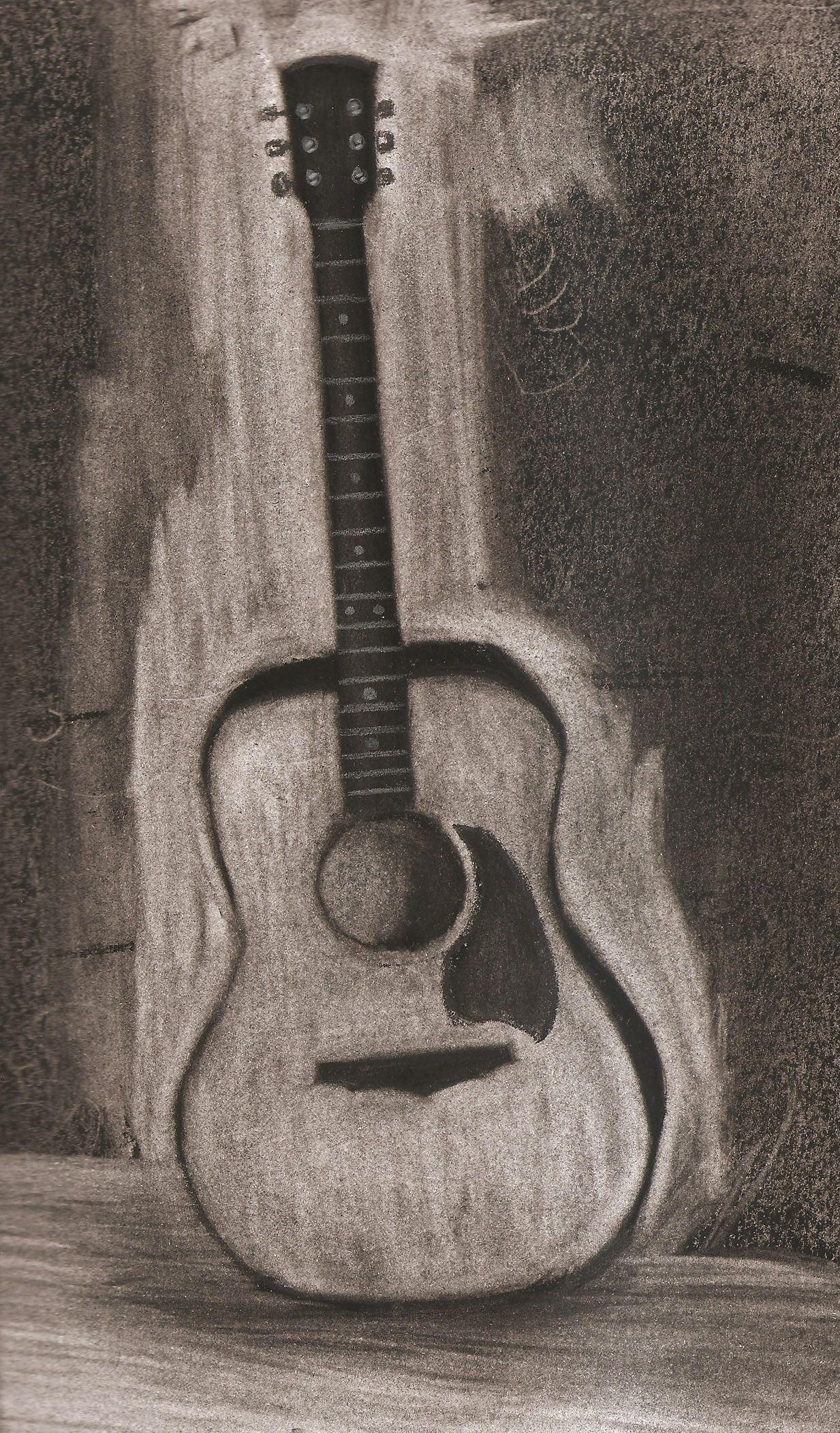 guitar drawing charcoal studio arts guitar artwork inspiration