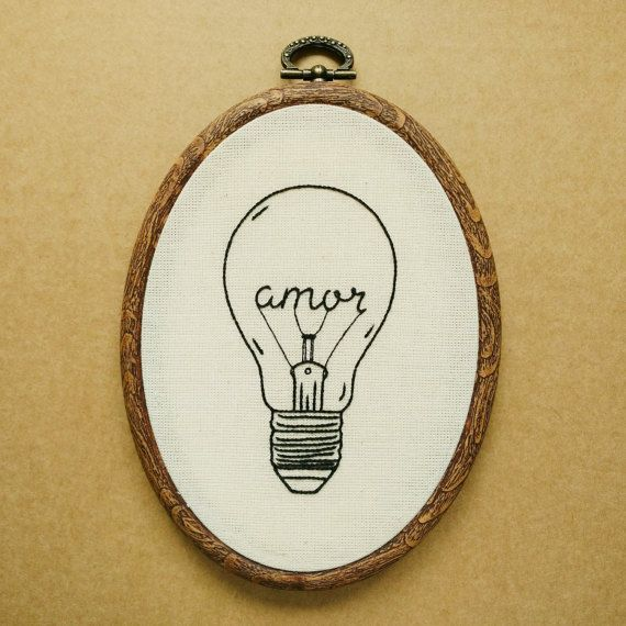 Amor Love Light Bulb Hand Embroidery Pattern